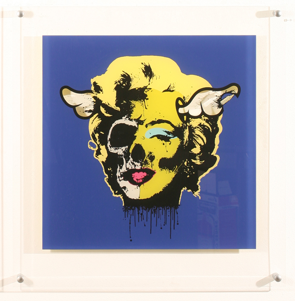 D*Face  &nbsp -  <strong>Acrylic Marilyn Blue</strong> (<strong style = 'color:#635a27'></strong>)<bR /> Silkscreen on Acrylic,   29 x 29 inches