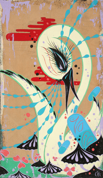 Camille Rose  Garcia -  <strong>Swan with No Go Pill</strong> (2008<strong style = 'color:#635a27'></strong>)<bR /> Acrylic, Silver Leaf  and Glitter on Wood,   17 x 10 inches