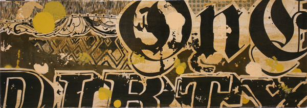 Bo130  &nbsp -  <strong>Untitled 16</strong> (<strong style = 'color:#635a27'></strong>)<bR /> Mixed Media on Wood Panel,   9 3/4 x 27 1/2 inches
