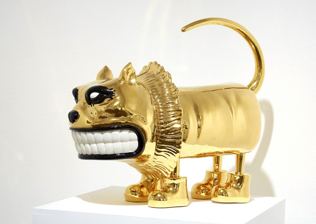Scott  Musgrove -  <strong>Booted Glamour Cat</strong> (<strong style = 'color:#635a27'></strong>)<bR /> ceramic with gold glaze,   18 x 21.5 x 14 inches  (45.73 x 54.61 x 35.56 cm)