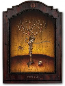 Daniel Martin Diaz -  <strong>Bound By the Earth</strong> (2005<strong style = 'color:#635a27'></strong>)<bR /> oil on wood,   24 x 18 in.