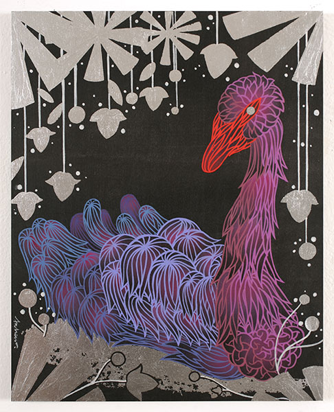 Andrew  Brandou -  <strong>Black Swan</strong> (2010<strong style = 'color:#635a27'></strong>)<bR /> acrylic, silver leaf and ink on panel,   20 x 15.75 inches  (51 x 40 cm)