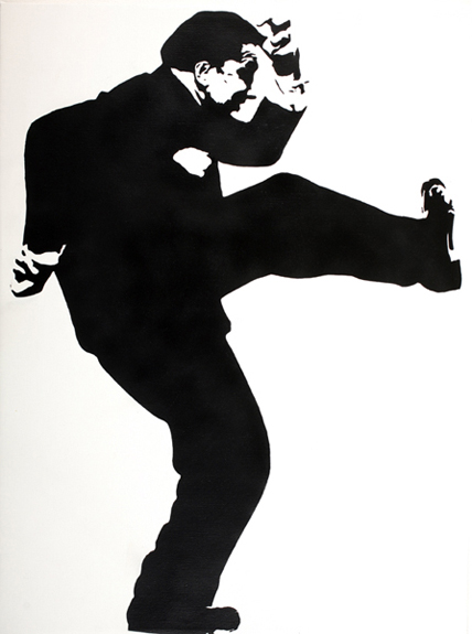 Blek le Rat  &nbsp -  <strong>Breaking Down Walls (small)</strong> (2008<strong style = 'color:#635a27'></strong>)<bR /> Spraypaint on Canvas,   Edition 1 of 2,   41 x 35 inches