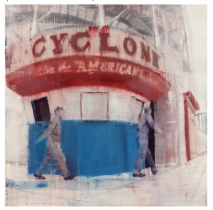 """Brett  Amory -  <strong>Coney Island, 8-9am (Waiting #170)</strong> (2015<strong style = 'color:#635a27'></strong>)<bR /> giclee on Bright White Fine Art Cotton Rag, 300gsm  26 x 26 inches  edition of 100  (prints 1-20 are hand-embellished)  signed and numbered by the artist,   Available to purchase <a href=""""http://shop.jonathanlevinegallery.com/collections/new-releases/products/brett-amory-coney-island""""><strong><em>here</em></strong></a>"""