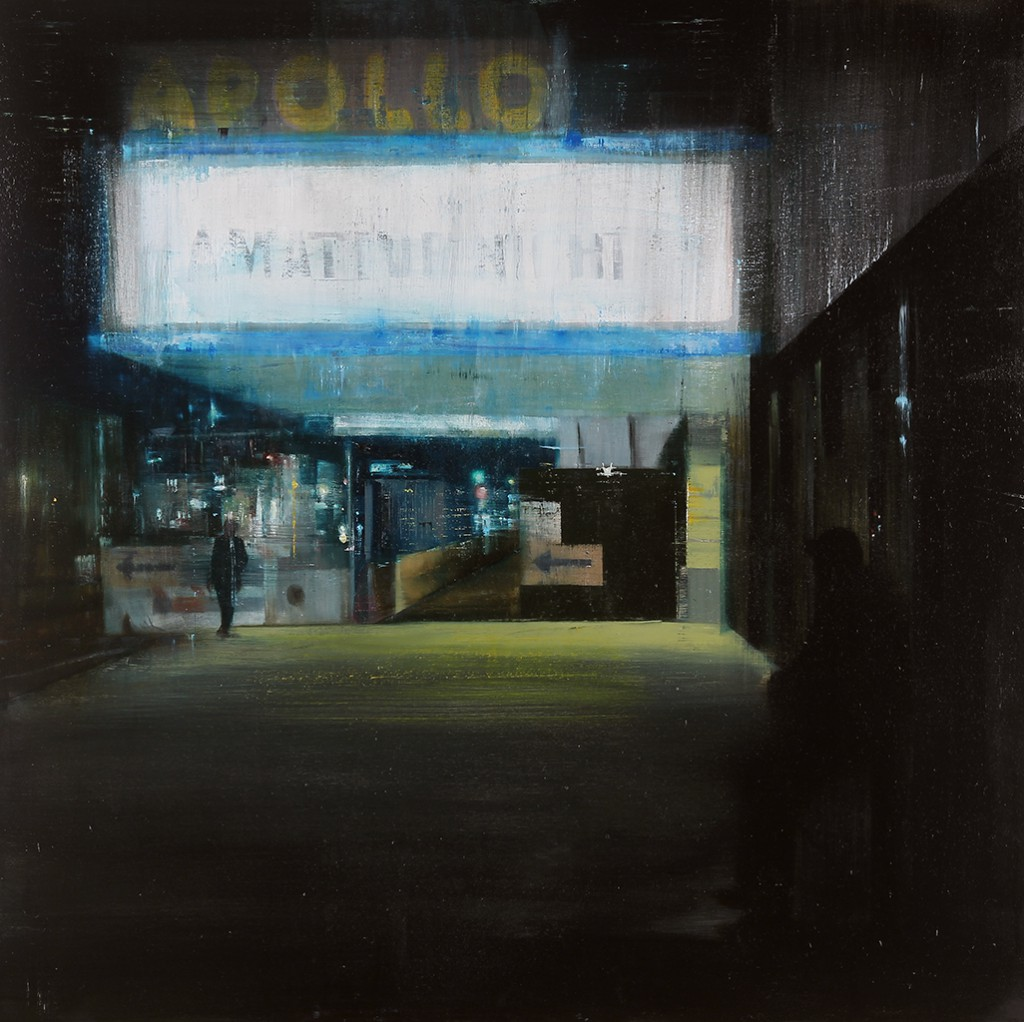 Brett  Amory -  <strong>Apollo, 10-11pm (Waiting #176)</strong> (2013<strong style = 'color:#635a27'></strong>)<bR /> oil on wood panel,   36 x 36 inches  (91.44 x 91.44 cm)