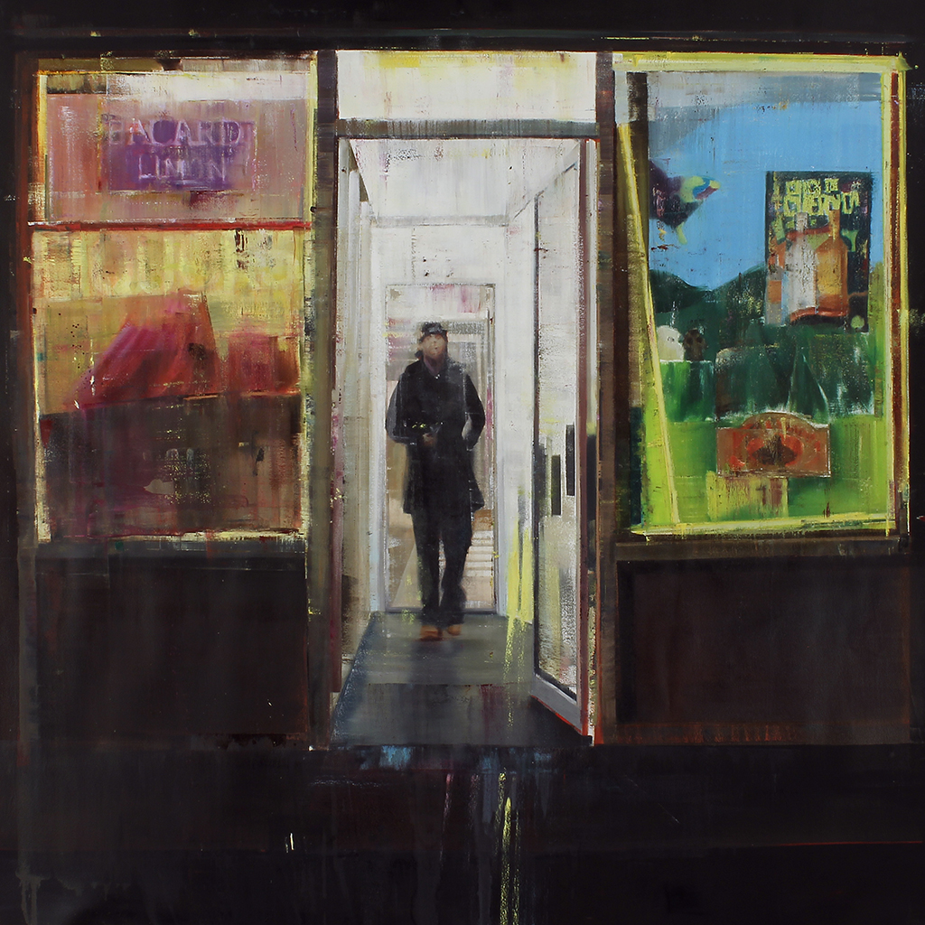 Brett  Amory -  <strong>Boston & 174th Street, Bronx, 12-1am (Waiting #181)</strong> (2013<strong style = 'color:#635a27'></strong>)<bR /> oil on canvas,   72 x 72 inches  (182.88 x 182.88 cm)