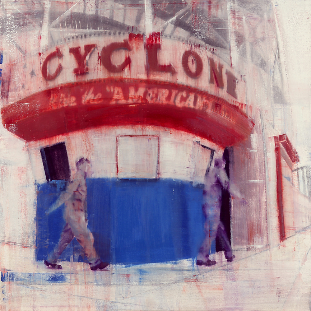 Brett  Amory -  <strong>Coney Island, 8-9am (Waiting #170)</strong> (2013<strong style = 'color:#635a27'></strong>)<bR /> oil on wood panel,   36 x 36 inches  (91.44 x 91.44 cm)