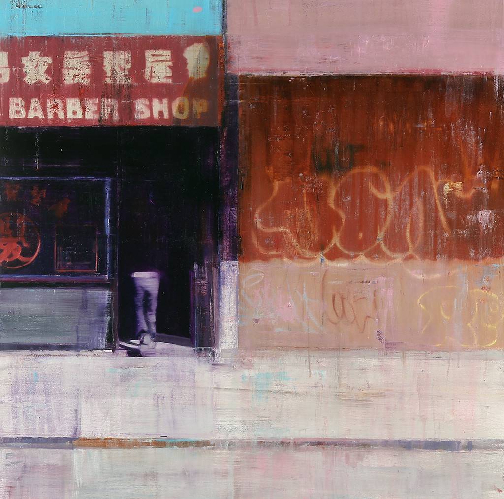 Brett  Amory -  <strong>Hester and Eldridge, 11-12am (Waiting #171)</strong> (2013<strong style = 'color:#635a27'></strong>)<bR /> oil on wood panel,   36 x 36 inches  (91.44 x 91.44 cm)