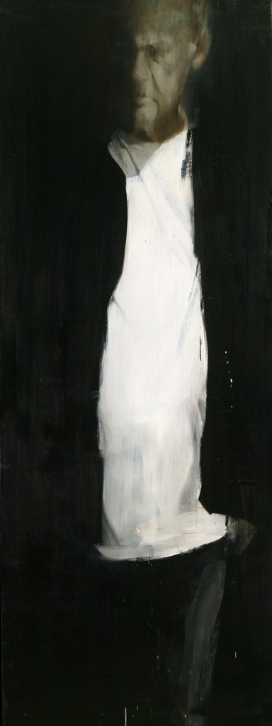 Brett  Amory -  <strong>Waiter 13</strong> (2011<strong style = 'color:#635a27'></strong>)<bR /> oil on wood panel,   96 x 36 inches  (243.84 x 91.44 cm)