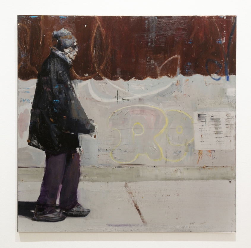 Brett  Amory -  <strong>Waiting #210</strong> (2014<strong style = 'color:#635a27'></strong>)<bR /> oil on wood,   30 x 30 inches  (76.2 x 76.2 cm)