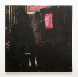 Brett  Amory -  <strong>Waiting #211</strong> (2014<strong style = 'color:#635a27'></strong>)<bR /> oil on wood,   30 x 30 inches  (76.2 x 76.2 cm)