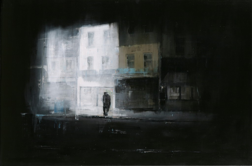 Brett  Amory -  <strong>Waiting 79</strong> (2011<strong style = 'color:#635a27'></strong>)<bR /> oil on wood panel,   48 x 71 inches  (121.92 x 180.34 cm)