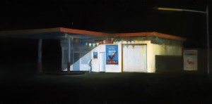 Brett  Amory -  <strong>Waiting 80</strong> (2011<strong style = 'color:#635a27'></strong>)<bR /> oil on wood panel,   24 x 48 inches  (60.96 x 121.92 cm)