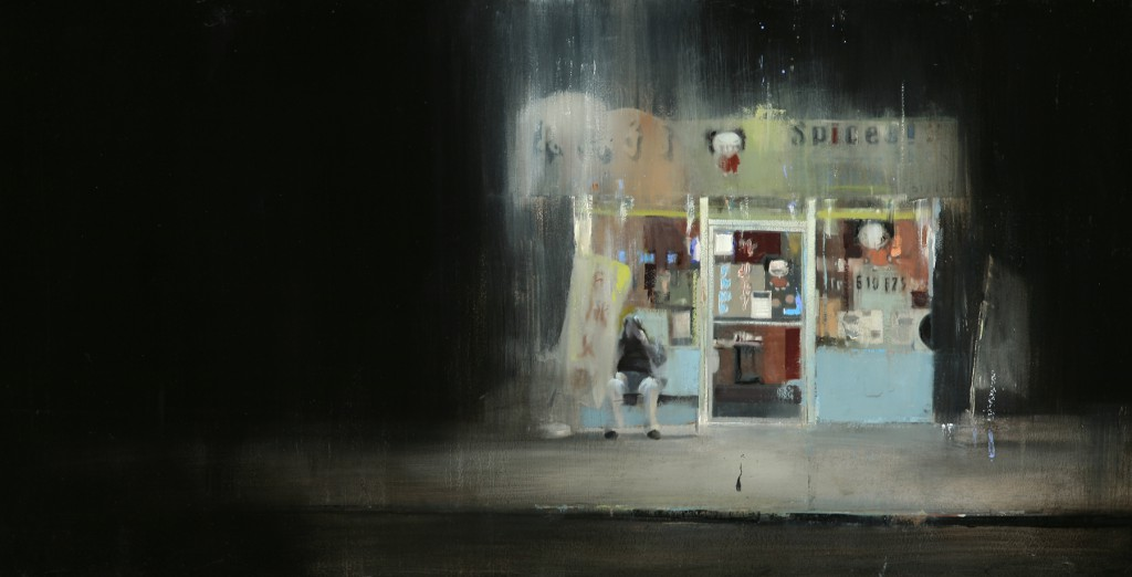 Brett  Amory -  <strong>Waiting 81</strong> (2011<strong style = 'color:#635a27'></strong>)<bR /> oil on wood panel,   24 x 48 inches  (60.96 x 121.92 cm)