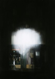 Brett  Amory -  <strong>Waiting 83</strong> (2011<strong style = 'color:#635a27'></strong>)<bR /> oil on wood panel,   60 x 42 inches  (152.4 x 106.64 cm)
