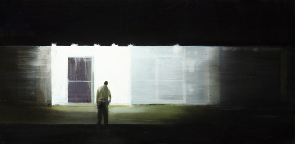 Brett  Amory -  <strong>Waiting 84</strong> (2011<strong style = 'color:#635a27'></strong>)<bR /> oil on wood panel,   24 x 48 inches  (60.96 x 121.92 cm)