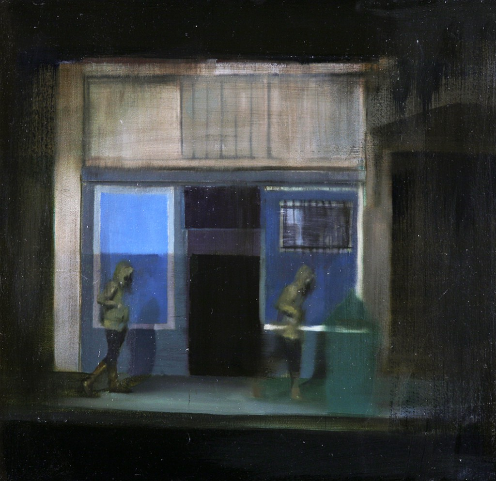 Brett  Amory -  <strong>Waiting 86</strong> (2011<strong style = 'color:#635a27'></strong>)<bR /> oil on wood panel,   24 x 24 inches  (60.96 x 60.96 cm)