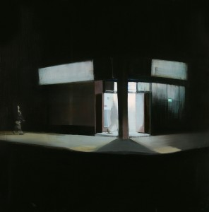 Brett  Amory -  <strong>Waiting 92</strong> (2011<strong style = 'color:#635a27'></strong>)<bR /> oil on wood panel,   48 x 48 inches  (121.92 x 121.92 cm)