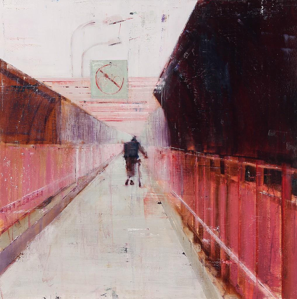 Brett  Amory -  <strong>Williamsburg Bridge, 7-8am (Waiting #175)</strong> (2013<strong style = 'color:#635a27'></strong>)<bR /> oil on wood panel,   36 x 36 inches  (91.44 x 91.44 cm)