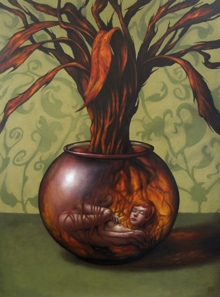 """Esao  Andrews -  <strong>Bromelain</strong> (2008<strong style = 'color:#635a27'></strong>)<bR /> Oil on Wood,   <span style=""""font-family: Helvetica;"""">Image size: 32 x 24 inches,   </span>,  <p class=""""MsoNormal""""><span style=""""font-family: Helvetica;"""">Framed size: 39 x 30 1/2 inches,   </span>"""