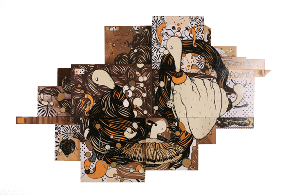 Microbo  &nbsp -  <strong>Rapsodia in Brown</strong> (<strong style = 'color:#635a27'></strong>)<bR /> Mixed Media on Wood Panel,   76 3/4 x 51 inches
