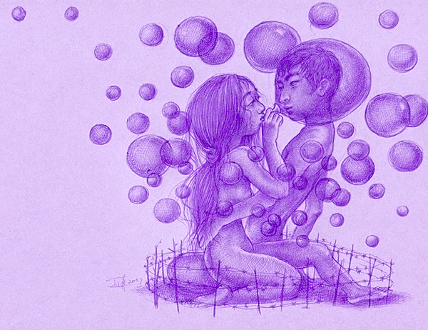 """Xiaoqing  Ding -  <strong>Bubbles</strong> (2007<strong style = 'color:#635a27'></strong>)<bR /> Ballpoint Pen on Paper,   Image size: 9 x 11 inches,   <span style=""""font-family: Helvetica;"""">Framed size: 13 1/2 x 16 inches</span>"""