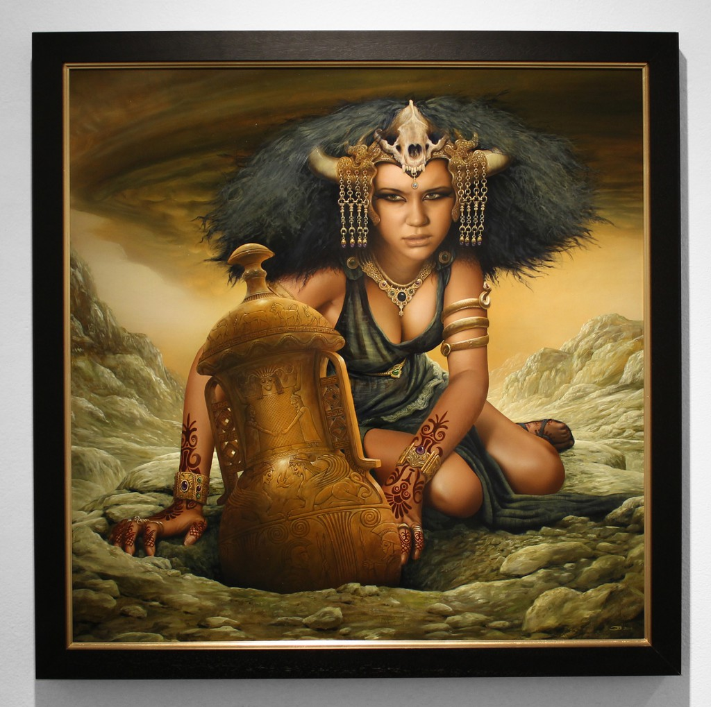 Jim  Burns -  <strong>Anesidora's Choice</strong> (2015<strong style = 'color:#635a27'></strong>)<bR /> oil on linen,   36 x 36 inches  (91.44 x 91.44 cm)