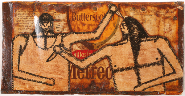 Date Farmers  &nbsp -  <strong>Butterscotch</strong> (2010<strong style = 'color:#635a27'></strong>)<bR /> mixed media on metal,   3.75 x 7.25 x 1.5 inches  (9.53 x 18.42 x 3.81 cm)