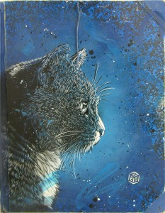 C215 -  <strong>Untitled (Blue Cat)</strong> (2013<strong style = 'color:#635a27'></strong>)<bR /> spraypaint on panel 25 7/8 x 20 in.