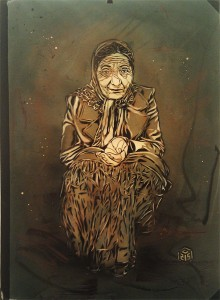 C215 -  <strong>Untitled (Old Lady)</strong> (2013<strong style = 'color:#635a27'></strong>)<bR /> spraypaint on panel 28 1/4 x 20 1/2 in.