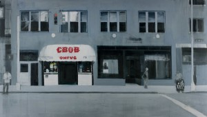Brett Amory -  <strong>CBGB (Waiting #243)</strong> (2015<strong style = 'color:#635a27'></strong>)<bR /> oil on canvas,   42 x 72 inches  (106.68 x 182.88 cm)