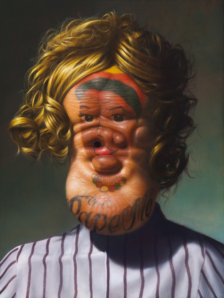 Christian Rex  Van Minnen -  <strong>Selfie Protest/Protest Selfie</strong> (2014<strong style = 'color:#635a27'></strong>)<bR /> oil on panel,   24 x 18 x 2 inches  (60.96 x 45.72 x 5.08 cm)