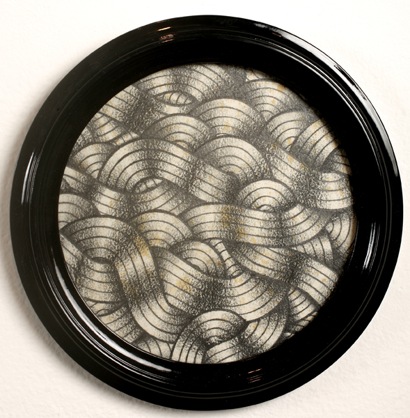 Stephan  Doitschinoff -  <strong>Bola de Cabelo  1 (Hairy Ball)</strong> (2008<strong style = 'color:#635a27'></strong>)<bR /> Graphite on Paper,   9 1/2 inche diameter