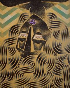 Stephan Doitschinoff -  <strong>Cabeça de Diaba</strong> (2015<strong style = 'color:#635a27'></strong>)<bR /> acrylic on canvas, 39.37 x 31.5 inches (100 x 80cm)