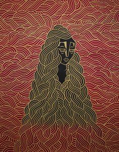 Stephan Doitschinoff -  <strong>Jurema Preta Visita Satanas</strong> (2015<strong style = 'color:#635a27'></strong>)<bR /> acrylic on canvas,   48.03 x 36.6 inches  (122 x 93 cm)