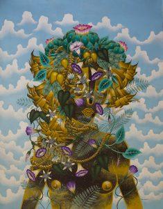 Stephan Doitschinoff -  <strong>Jurema Preta com Enteogenos 1</strong> (2015<strong style = 'color:#635a27'></strong>)<bR /> acrylic on canvas,   48.03 x 36.6 inches  (122 x 93 cm)