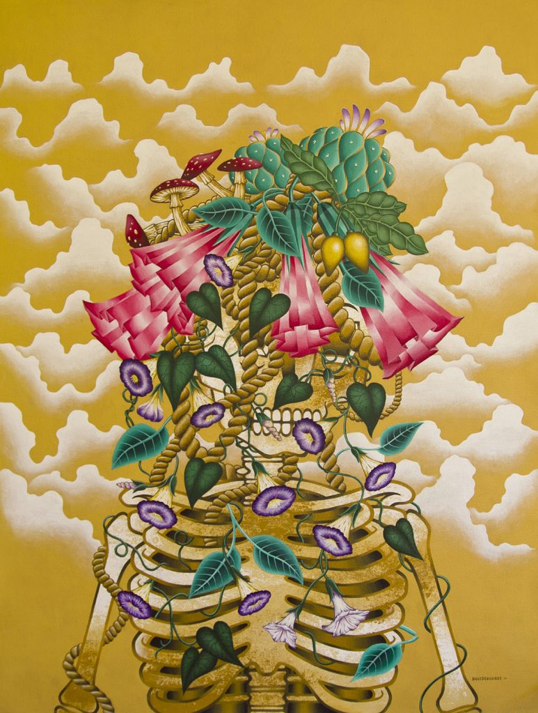 Stephan Doitschinoff -  <strong>Jurema Preta com Enteogenos 2</strong> (2015<strong style = 'color:#635a27'></strong>)<bR /> acrylic on canvas,   48.03 x 36.6 inches  (122 x 93 cm)