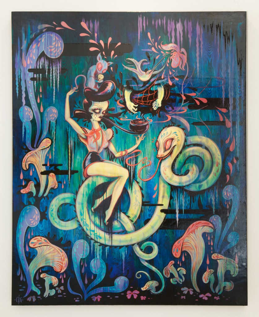 Camille Rose  Garcia -  <strong>Hello, Orpheus</strong> (2013<strong style = 'color:#635a27'></strong>)<bR /> acrylic and glitter on wood panel,   60 x 48 inches  (152.4 x 121.9 cm)