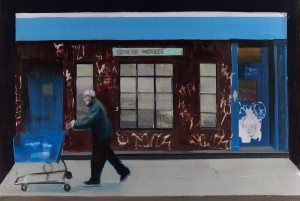 Brett Amory -  <strong>Catholic Worker (Waiting #248)</strong> (2015<strong style = 'color:#635a27'></strong>)<bR /> oil on canvas,   24 x 36 inches  (60.96 x 91.44 cm)