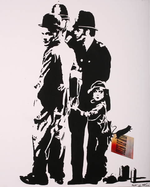 Blek le Rat  &nbsp -  <strong>Chaplin</strong> (2007<strong style = 'color:#635a27'></strong>)<bR /> Spraypaint on Canvas,   39 1/2 x 31 3/4 inches