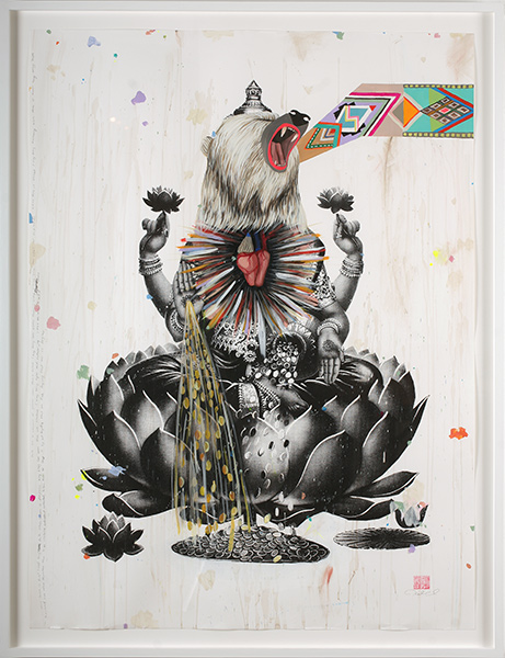 Deedee  Cheriel -  <strong>Divine Self</strong> (2009<strong style = 'color:#635a27'></strong>)<bR /> acrylic and silk screen on paper,   48 x 36 in. (121.9 x 91.4 cm),   52 1/4 x 40 1/2 in. (132.7 x 102.9 cm) framed