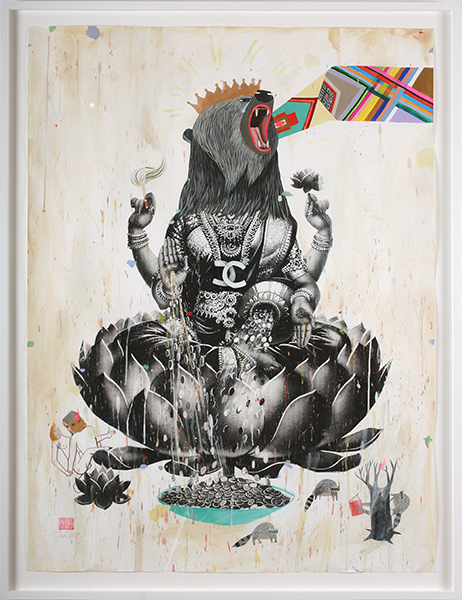 Deedee  Cheriel -  <strong>Former Self</strong> (2009<strong style = 'color:#635a27'></strong>)<bR /> acrylic and silk screen on paper,   48 x 36 in. (121.9 x 91.4 cm),   52 1/4 x 40 1/2 in. (132.7 x 102.9 cm) framed