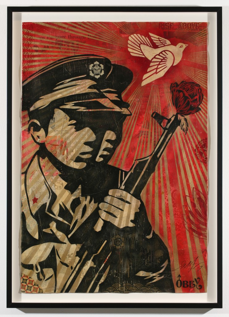 Shepard Fairey -  <strong>Chinese Soldiers</strong> (2007<strong style = 'color:#635a27'></strong>)<bR /> stencil collage on paper 30 x 44 inches
