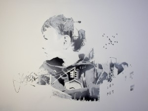 Chris Stain -  <strong>Structures of Thought II</strong> (2013<strong style = 'color:#635a27'></strong>)<bR /> hand-cut stencil and spray enamel on canvas 36 x 40 in.