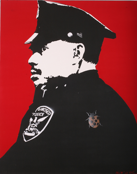 Blek le Rat  &nbsp -  <strong>City Cop</strong> (2007<strong style = 'color:#635a27'></strong>)<bR /> Spraypaint on Canvas,   36 1/4  x 28 3/4 inches