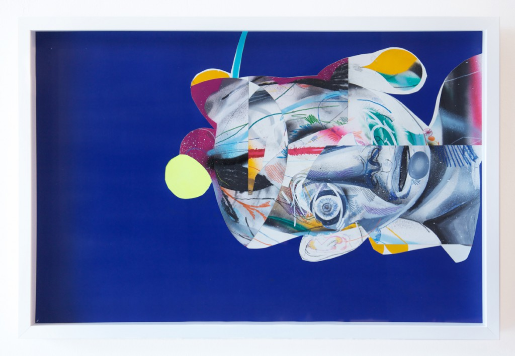 Clayton Brothers  &nbsp -  <strong>Complicated #2</strong> (2014<strong style = 'color:#635a27'></strong>)<bR /> mixed media on paper,   23 1/2 x 35 1/2 inches  (59.69 x 90.17 cm),   24 1/2 x 36 1/2 x 2 1/2 inches, framed