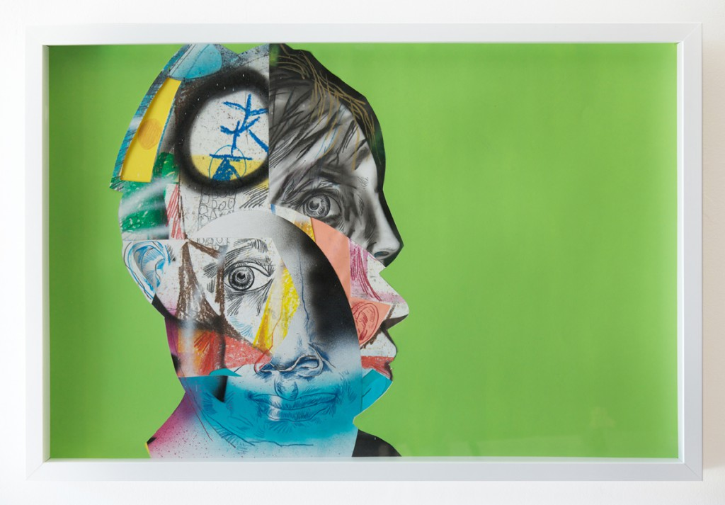 """Clayton Brothers  &nbsp -  <strong>Complicated #4</strong> (2014<strong style = 'color:#635a27'></strong>)<bR />  mixed media on paper,  <p class=""""MsoNormalCxSpFirst""""><span style=""""background: #F9F9F9"""">23 1/2 x 35 1/2 inches,   </span>,  <p class=""""MsoNormalCxSpMiddle""""><span style=""""background: #F9F9F9"""">(59.69 x 90.17 cm),   </span>,    ,  <p class=""""MsoNormalCxSpMiddle""""><span style=""""background: #F9F9F9"""">24 1/2 x 36 1/2 x 2 1/2 inches, framed</span>"""