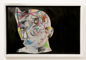 """Clayton Brothers  &nbsp -  <strong>Complicated #11</strong> (2014<strong style = 'color:#635a27'></strong>)<bR /> mixed media on paper,  <p class=""""MsoNormalCxSpFirst""""><span style=""""background: #F9F9F9"""">23 1/2 x 35 1/2 inches,   </span>,  <p class=""""MsoNormalCxSpMiddle""""><span style=""""background: #F9F9F9"""">(59.69 x 90.17 cm),   </span>,    ,  <p class=""""MsoNormalCxSpMiddle""""><span style=""""background: #F9F9F9"""">24 1/2 x 36 1/2 x 2 1/2 inches, framed</span>"""