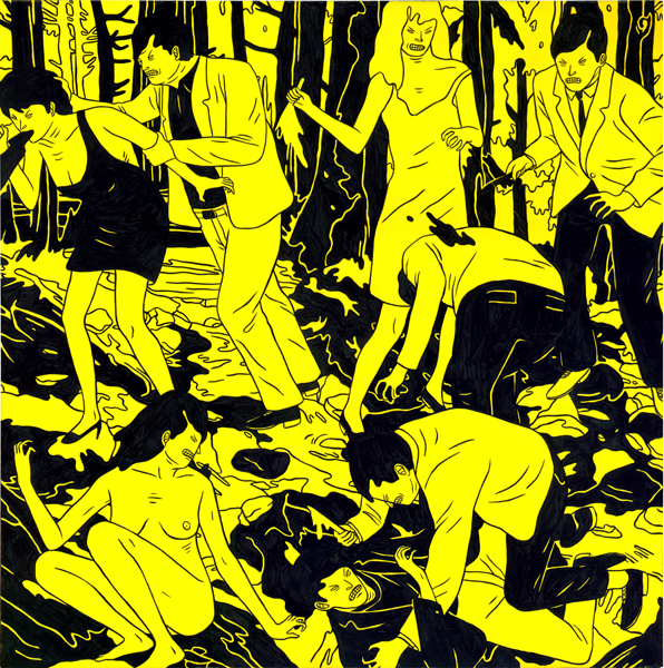 Cleon  Peterson -  <strong>Vicious 1</strong> (2009<strong style = 'color:#635a27'></strong>)<bR /> spray paint and acrylic on panel,   17 x 17 inches [43.2 x 43.2 cm]