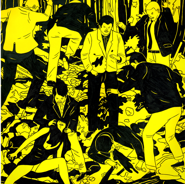 Cleon  Peterson -  <strong>Vicious 2</strong> (2009<strong style = 'color:#635a27'></strong>)<bR /> spray paint and acrylic on panel,   17 x 17 inches [43.2 x 43.2 cm]